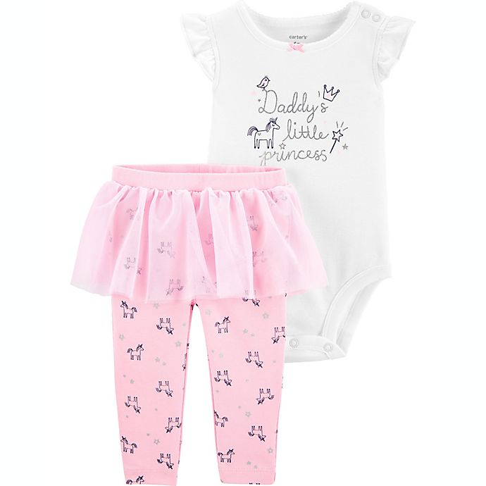 Alternate image 1 for carter's® 2-Piece Daddy's Little Princess Bodysuit and Tutu Pant Set in Pink