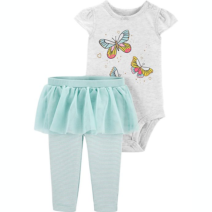 Alternate image 1 for carter's® 2-Piece Butterfly Bodysuit and Tutu Pant Set in Mint