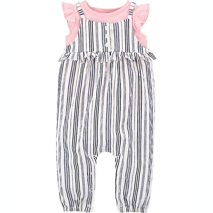 Alternate image 1 for carter's® Size 3M 2-Piece Shirt and Striped Jumpsuit Set
