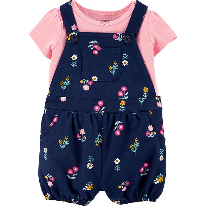 Alternate image 1 for carter's® Size 3M 2-Piece Floral Shirt and Shortall Set in Navy