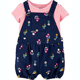 carter's® 2-Piece Floral Shirt and Shortall Set in Navy
