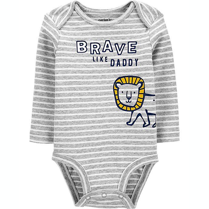 Alternate image 1 for carter's® Brave Like Daddy Bodysuit in Grey