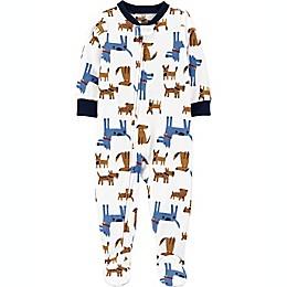 carter's® Dogs Footie Pajamas in Blue/Brown