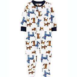 carter's® Dogs Footie Pajamas in Blue/Brown