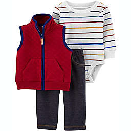 carter's® Size 3M 3-Piece Quilted Vest, Long Sleeve Bodysuit, and Pant Set