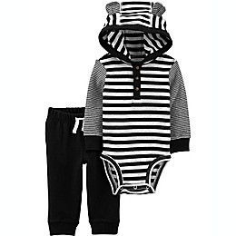 carter's® 2-Piece Stripe Long Sleeve Hooded Bodysuit and Pant Set in Black/White