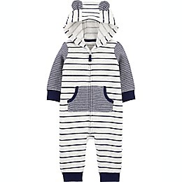 carter's® Striped Hooded Jumpsuit in Blue