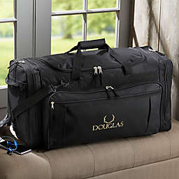 Woodland Embroidered Duffel Bag in Black