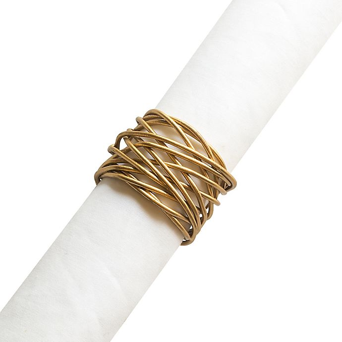 Alternate image 1 for Twist Wire Napkin Ring in Brushed Gold