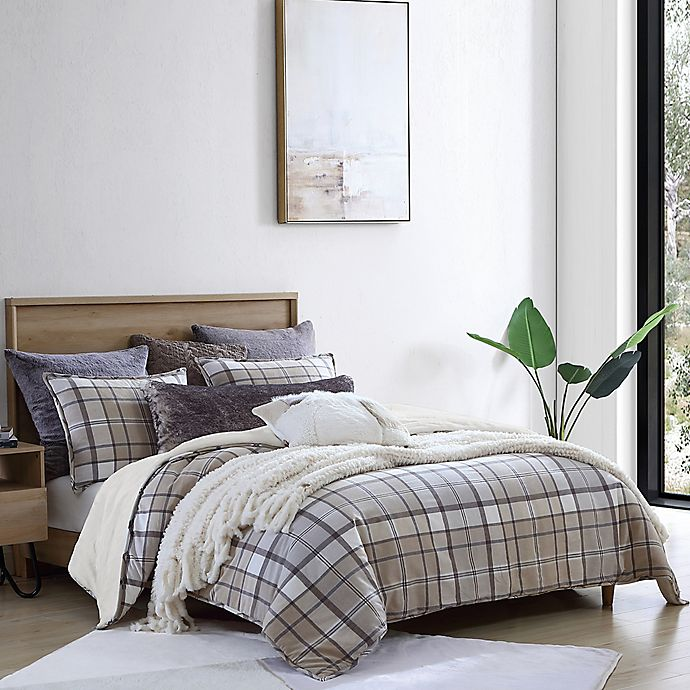 Alternate image 1 for UGG® Beacon 3-Piece Full/Queen Comforter Set in Oatmeal Plaid