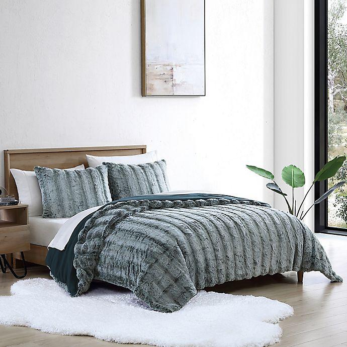 Alternate image 1 for UGG® Landers Faux Fur 2-Piece Twin Comforter Set in Ocean