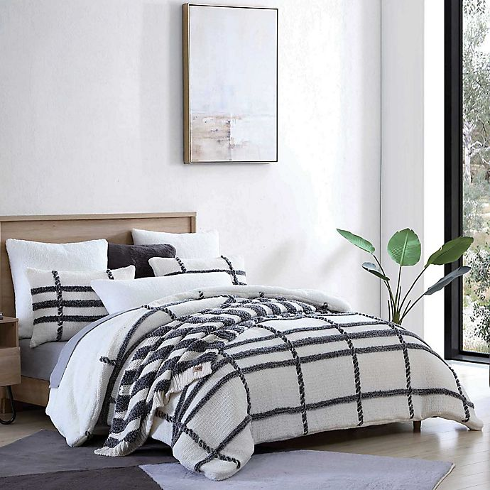 Alternate image 1 for UGG® Blasdale 3-Piece Duvet Cover Set in Snow/Charcoal