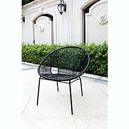 Destination Summer Outdoor Round String Chair in Black