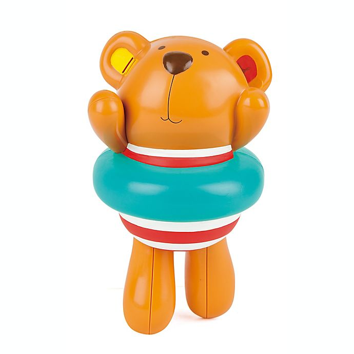 Alternate image 1 for Hape Swimmer Teddy Wind-Up Bath Toy in Brown/Blue
