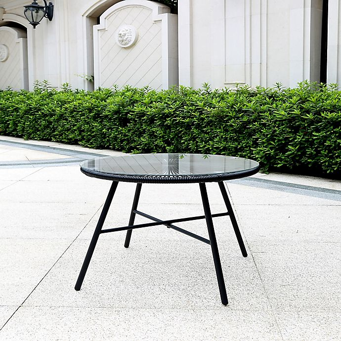 Alternate image 1 for Destination Summer Round Wicker Patio Side Table in Black