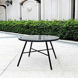 Destination Summer Round Wicker Patio Side Table in Black