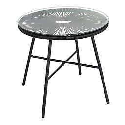 Destination Summer Round Wicker Patio Side Table in Black