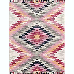 "CosmoLiving Bodrum Tribal 4"" x 6"" Area Rug in Rose"