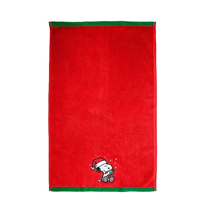 Alternate image 1 for Peanuts™ Be Merry Hand Towel in Red