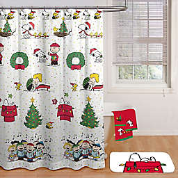 Peanuts™ Be Merry 70-Inch by 72-Inch Shower Curtain with Hooks Set