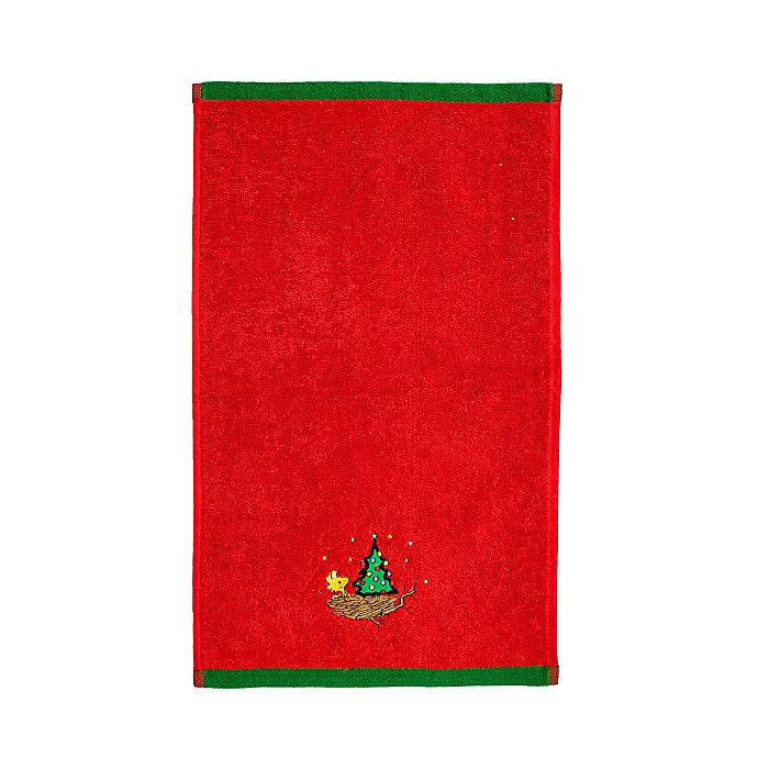 Alternate image 1 for Peanuts™ Be Merry Fingertip Towel in Red