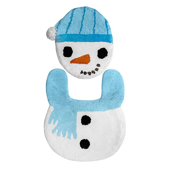 Alternate image 1 for Snowman 2-Piece Toilet Cover and Contour Rug Set