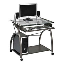 Sleek Pewter and Glass Computer Desk