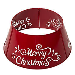 """Glitzhome® """"Merry Christmas"""" Die Cut Metal Tree Collar in Red"""