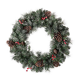 Glitzhome® 24-Inch Pre-Lit Glittered Artificial Pinecone Christmas Wreath in Green