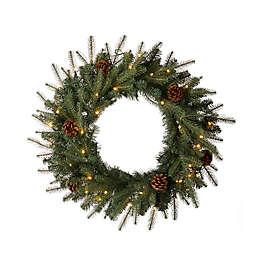 Glitzhome® 24-Inch Pre-Lit Artificial Pine Christmas Wreath in Green
