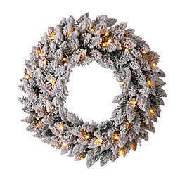Glitzhome® 24-Inch LED Snow Flocked Pre-Lit Christmas Wreath in Green