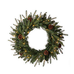 Glitzhome® 24-Inch LED Frosted Pine Christmas Wreath with Canvas Storage Bag in Green