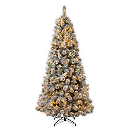 Glitzhome® 7.5-Foot Artificial Spruce Pre-Lit Snow Flocked Christmas Tree in Green