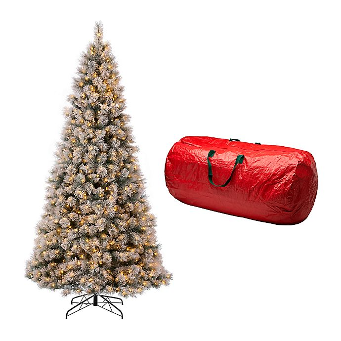 Glitzhome® 9-Foot Artificial Spruce Pre-Lit Snow Flocked ...