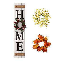 "Glitzhome® 4-Piece ""HOME"" Floral Porch Sign Set"