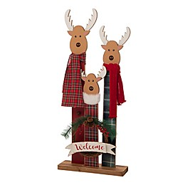 """Glitzhome® 34.8-Inch """"WELCOME"""" Reindeer Family Porch Sign"""