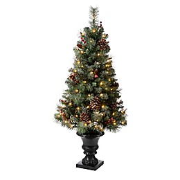 Glitzhome® 4-Foot Flocked Artificial Christmas Tree in Pot with Warm White Lights