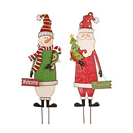 Glitzhome® Snowman & Santa Yard Stakes in Red/Green (Set of 2)