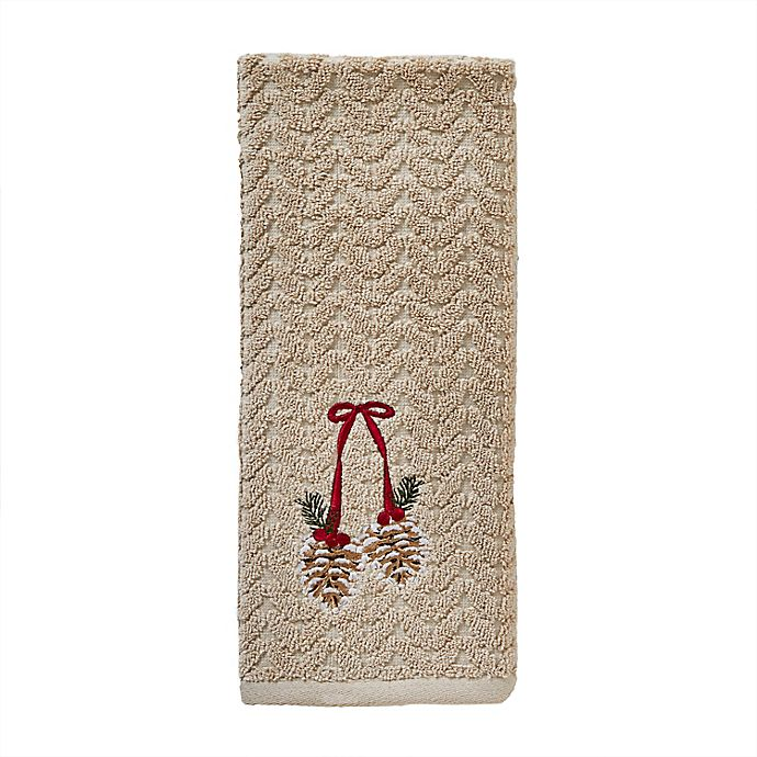 Alternate image 1 for Ribbon Pinecones Hand Towels in Taupe (Set of 2)