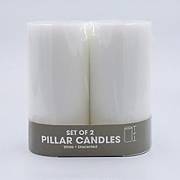 Pillar Candles in White (Set of 2)