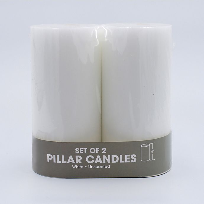 Alternate image 1 for Pillar Candles in White (Set of 2)