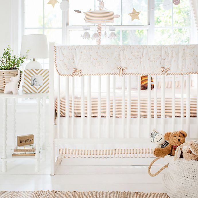 Alternate image 1 for My Baby Sam Heart of Gold 9-Piece Crib Bedding Set in White/Gold