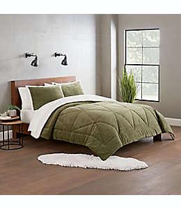Set de edredón individual de poliéster UGG® Avery color verde musgo