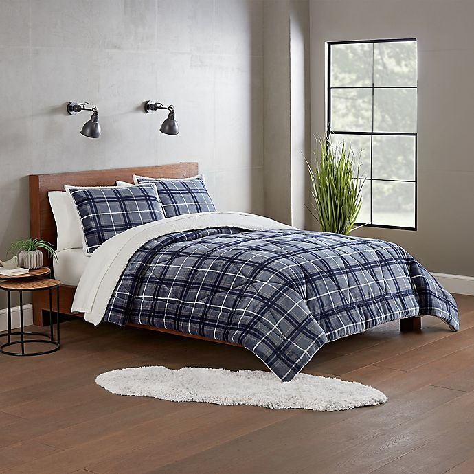 Alternate image 1 for UGG® Avery 3-Piece Reversible Full/Queen Comforter Set in Pacific Blue Plaid