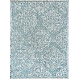 CosmoLiving Villa Icy Blossom Rug in Blue/White