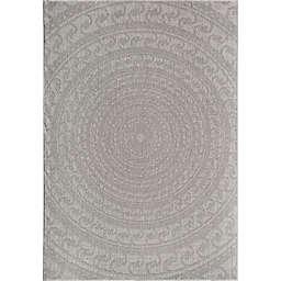 CosmoLiving Villa Icy Swirl Rug in Grey