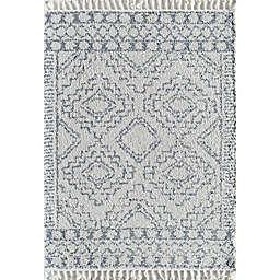 CosmoLiving Mason Block Shag Rug in Linen White