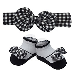 So 'dorable Gingham Bow Headband and Bootie Set in Black/White
