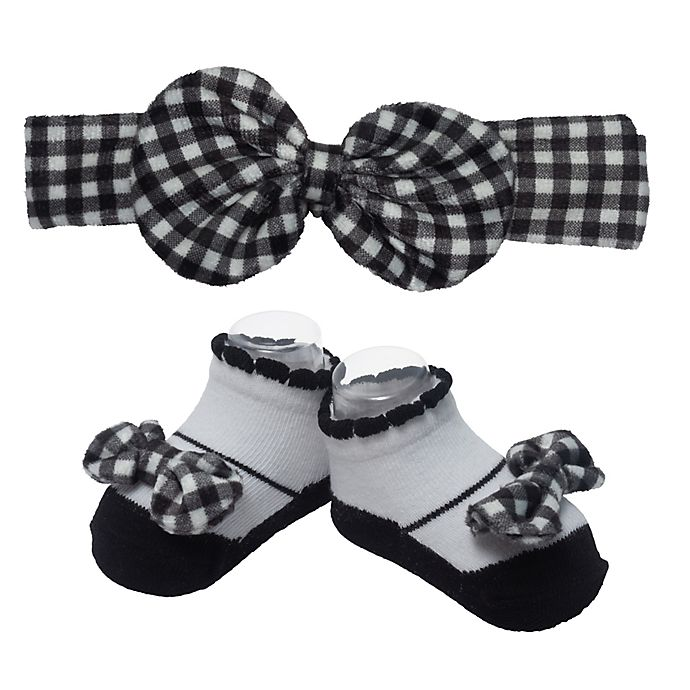 Alternate image 1 for So' Dorable Gingham Bow Headband and Bootie Set in Black/White