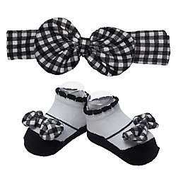 So' Dorable Gingham Bow Headband and Bootie Set in Black/White
